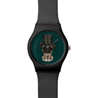 Cute Pug Puppy with Monocle and Top Hat Teal Wristwatch