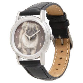 Cute pug puppy wrist watches