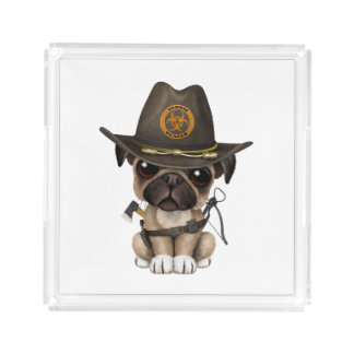Cute Pug Puppy Zombie Hunter Acrylic Tray
