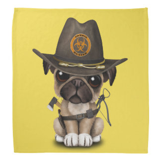 Cute Pug Puppy Zombie Hunter Bandana