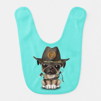 Cute Pug Puppy Zombie Hunter Bib