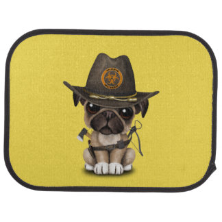 Cute Pug Puppy Zombie Hunter Car Mat