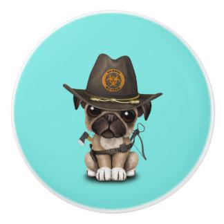 Cute Pug Puppy Zombie Hunter Ceramic Knob