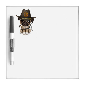 Cute Pug Puppy Zombie Hunter Dry Erase Board