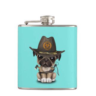 Cute Pug Puppy Zombie Hunter Hip Flask