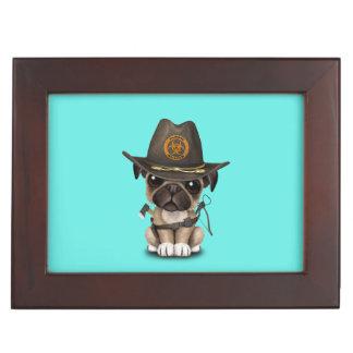 Cute Pug Puppy Zombie Hunter Keepsake Box