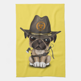Cute Pug Puppy Zombie Hunter Kitchen Towel