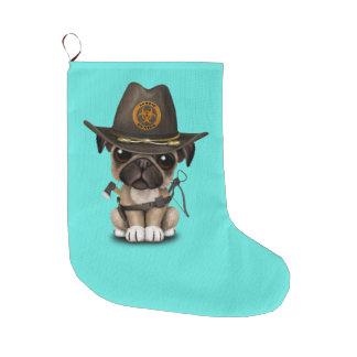 Cute Pug Puppy Zombie Hunter Large Christmas Stocking
