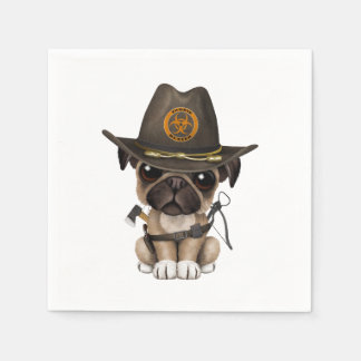 Cute Pug Puppy Zombie Hunter Paper Napkins