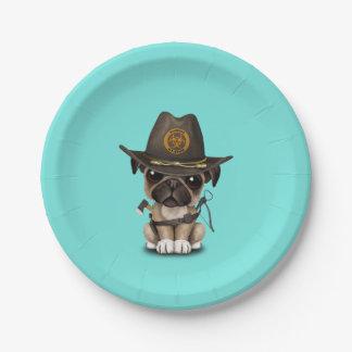 Cute Pug Puppy Zombie Hunter Paper Plate