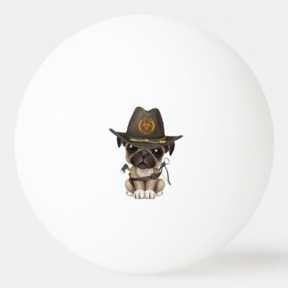 Cute Pug Puppy Zombie Hunter Ping Pong Ball
