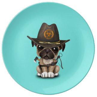 Cute Pug Puppy Zombie Hunter Plate