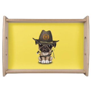 Cute Pug Puppy Zombie Hunter Serving Tray