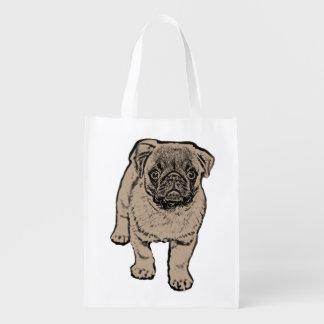 Cute Pug Reusable Bag Grocery Bag