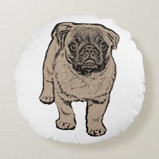 """Cute Pug Round Throw Pillow 16"""""""