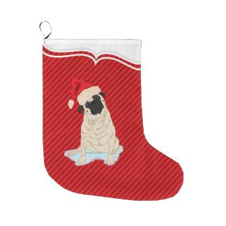 Cute Pug Santa Claus dog red stripe Large Christmas Stocking