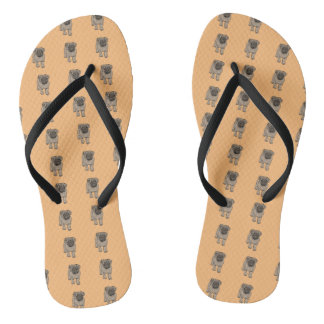 Cute Pug Slim Strap Flip Flops -Orange