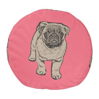 Cute Pug Sturdy Cotton Round Pouf -Red