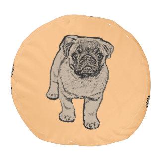 Cute Pug Sturdy Polyester Round Pouf -Orange