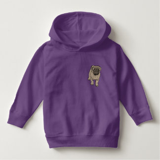 Cute Pug Toddler Pullover Hoodie -Purple
