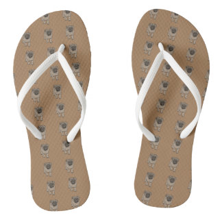 Cute Pug White Strap Flip Flops -Brown
