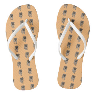 Cute Pug White Strap Flip Flops -Orange