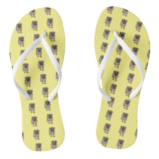 Cute Pug White Strap Flip Flops -Yellow