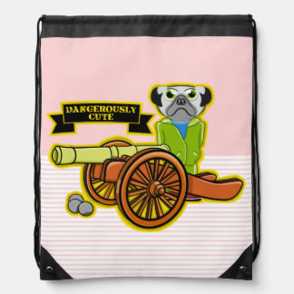 Cute Pug With A Cannon Drawstring Bag