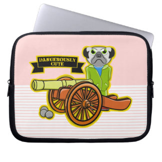 Cute Pug With A Cannon Laptop Sleeve