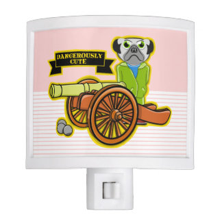 Cute Pug With A Cannon Nite Light