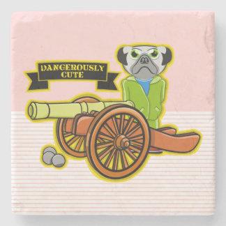 Cute Pug With A Cannon Stone Coaster