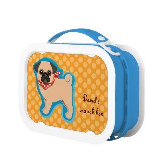 Cute pug with scarf lunch boxes