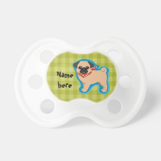 Cute pug with scarf pacifiers