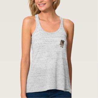 Cute Pug Women's Flowy Pocket Tank Top -Grey