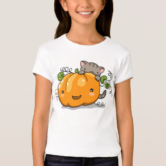 Cute pumpkin and kitten t-shirt