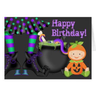 Cute Pumpkin Baby n Witch Legs Halloween Birthday Card