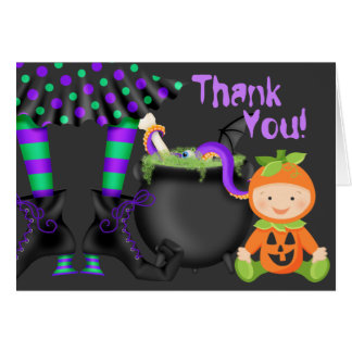 Cute Pumpkin Baby n Witch Legs Halloween Thank You Card