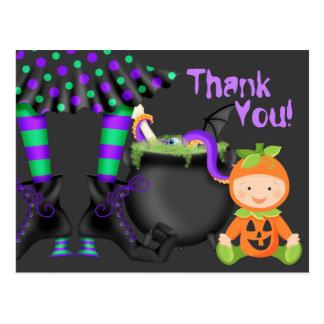 Cute Pumpkin Baby n Witch Legs Halloween Thank You Postcard