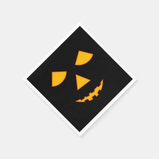 Cute Pumpkin Face Halloween Lit Jack-O-Lantern Disposable Napkins