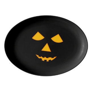 Cute Pumpkin Face Halloween Party Platter Porcelain Serving Platter