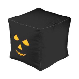 Cute Pumpkin Face Jack o Lantern Halloween Cube Pouf