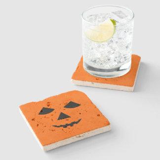 Cute Pumpkin Face Jack o Lantern Halloween Stone Coaster