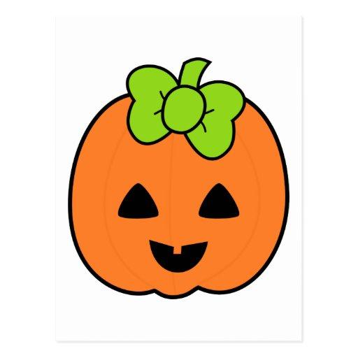 Cute Pumpkin Jack O' Lantern with Cute Bow Postcards