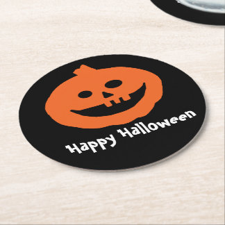 Cute Pumpkin On Black Happy Halloween Round Paper Coaster
