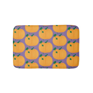 Cute Pumpkin Pattern on Purple Background Bath Mat