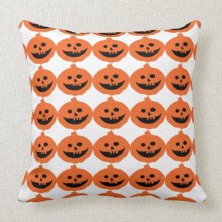 Cute Pumpkin Stripes Pattern Reversible Halloween Throw Pillow
