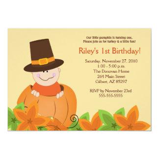Cute Pumpkin Thanksgiving 5x7 Birthday Invitation