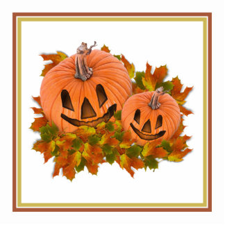 Cute Pumpkins in Fall Leaves Acrylic Cut Out