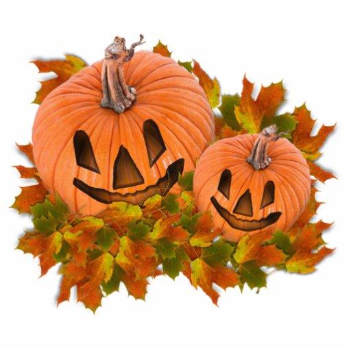 Cute Pumpkins in Fall Leaves Photo Cutouts
