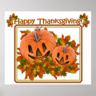 Cute Pumpkins in Fall Leaves Poster
